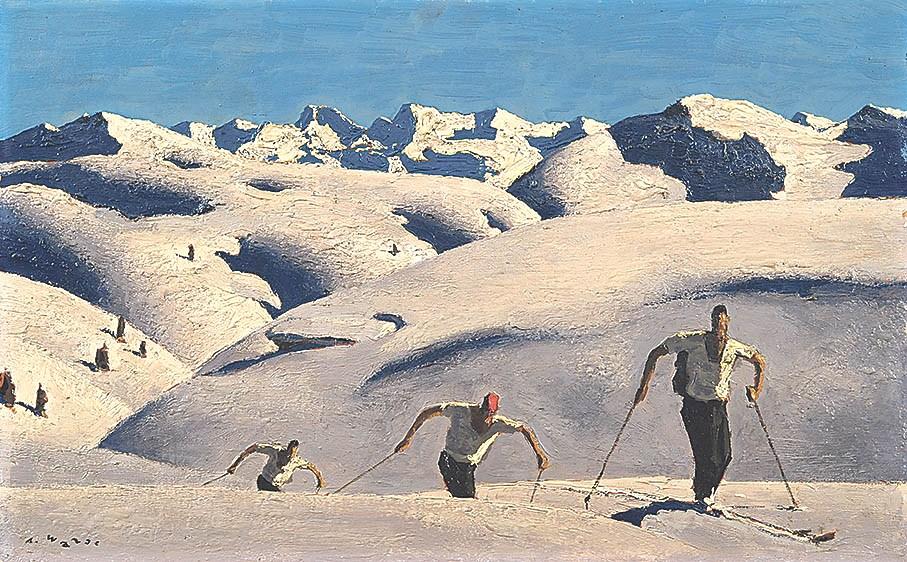Alfons WALDE 1891-1958 Aufstig der Skifarer 1933