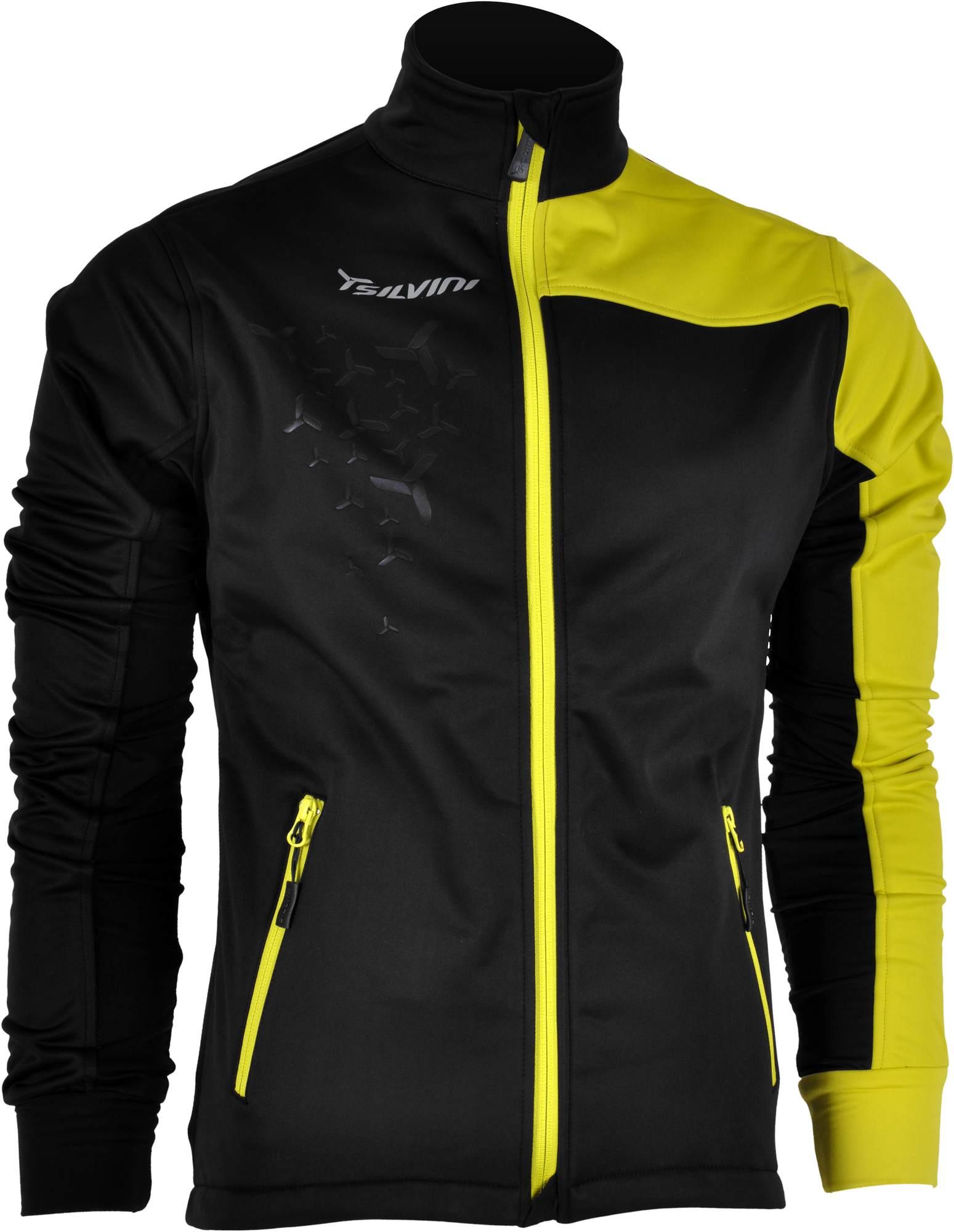 Kurtka na narty biegowe mMęska kurtka softshell SILVINI MEZZO MJ430 kolor czarno-żółta