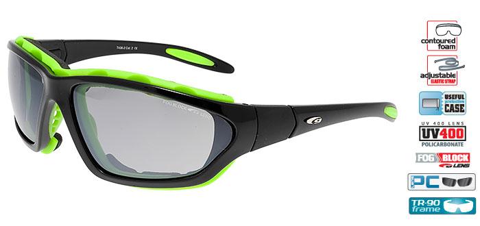 Okulary na narty biegowe GOGGLE T436-2 czarno-zielone
