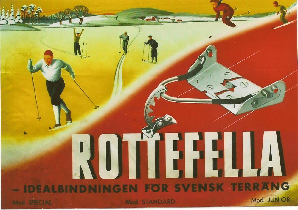 Plakat reklamowy wiązania do nart biegowych Rotefella 1945 rok.