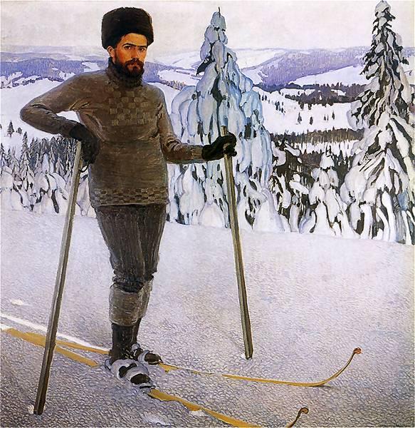 Władysław Jarocki.Portret własny na nartach